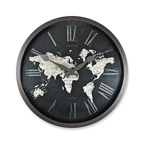 world map wall clock black