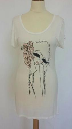 WHISTLES LADIES EXTRA LONG T-SHIRT with PICTURE DETAIL-UK 10