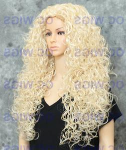 Light Blonde Extra Long Full Volume Spiral Curly Synthetic H