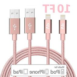 Lightning Cable, VP 2Pack 10 FT iPhone Charger Cord nylon br