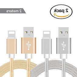Lightning Cable Charger, 2 Pack 6FT Lightning Fast 2.8A Ligh