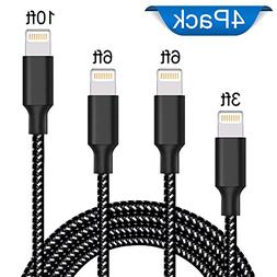 Sunggo Lightning Cable,3 Pack 10 Ft Extra Long Nylon Braided