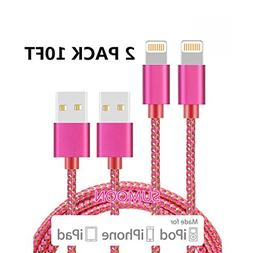 SUMOON Lightning Cable 2Pack 10Ft Nylon Braided 8 Pin iPhone