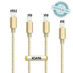 DANTENG Lightning Cable, 4Pack 3FT 6FT 6FT 10FT Extra Long N