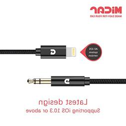 MiCar Lightning to 3.5mm Male Aux Stereo Audio Cable, Premiu