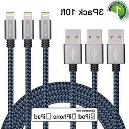Xcords 3Pack 10FT Lightning to USB Cable with 8 Pin Connecto