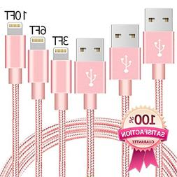 Lightning to USB Cable, 3 Pack iPhone Charging  3FT 6FT 10FT