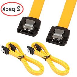 LINESO 2Pack 32in Long SATA Cable 6gb Straight with Locking