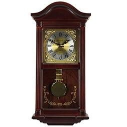 Bedford Clock Collection Mahogany Wall Clock with Pendulum a