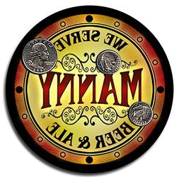 Manny Family Name Beer and Ale Rubber Drink Coasters - Set o