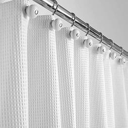mDesign Extra Long Polyester/Cotton Blend Fabric Shower Curt