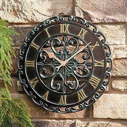 """14"""" Medallion Outdoor Clock Wall Hanging Outside Patio Porch"""