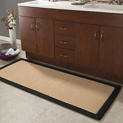 Memory Foam Extra-Long Bath Mat - Black and Tan