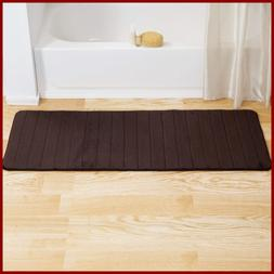 "Memory Foam Striped Extra Long Bath Mat 24 By 60"" CHOCOLATE"