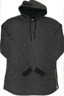 Men's Weiv Black Extra Long Marble Hoodie W/ Zipper Sides