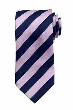 Men's Extra Long Pink And Navy Collegiate Striped Necktie Sc