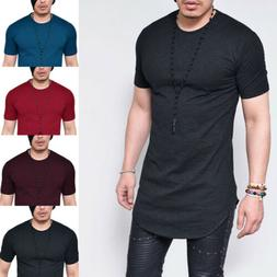 Men's Extra Long T-Shirt Short Sleeve Tall Body Muscle Tee C