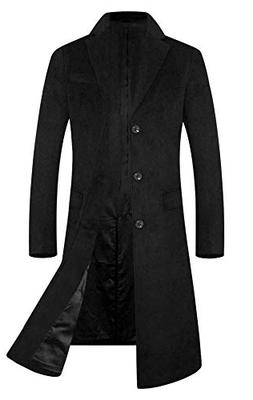 Men's Trench Coat Wool Blend French Long Jacket Business Top