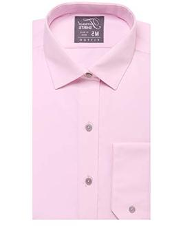 Luxe Microfiber Men's Fitted Spread Collar Dress Shirt - S