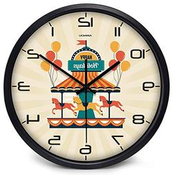 Airinou Merry-go-round Carrousel Wall Clock for Kid Children