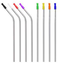WEBSUN Metal Straws Set of 8 Reusable Stainless Steel Straws