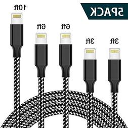 TNSO MFi Certified Phone Cable 5Pack 3FT 3FT 6FT 6FT 10FT Ex