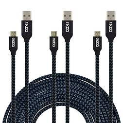 Micro USB Cable, CIKOO  10Ft Long Micro USB Nylon Braided Fa