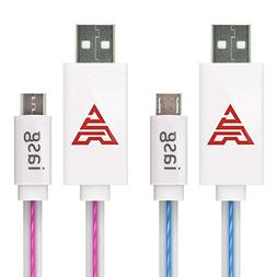 iasg 2xPack Micro USB Cable Flat Visible LED Lighted Up illu
