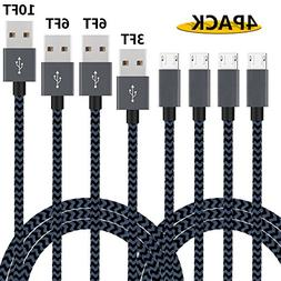 Additt Micro USB Cable,4Pack 3FT 6FT 6FT 10FT Nylon Braided