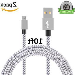 Micro USB Cable, Asstar  10FT Extra Long Premium Nylon Braid