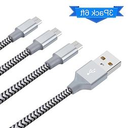 Micro USB Cable Elktry Android Charger Cable 3 Pack 6FT Sync