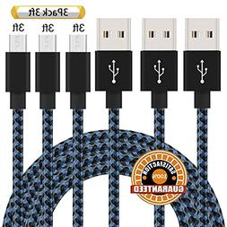 Suanna Micro USB Cable,3Pack 3FT Nylon Braided Android Charg