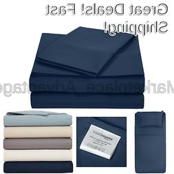 Microfiber Sheet Set - Twin Extra-Long Navy Blue Twin XL