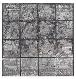 Mirrored Paris Map Wall Art | Large Silver Vintage Style Fre