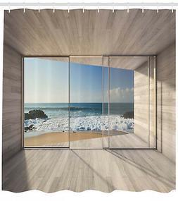 Modern Architecture Design Glass View Ocean Shore Shower Cur