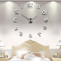 Vangold Modern DIY Wall Clock Large Frameless 3D Wall Clock