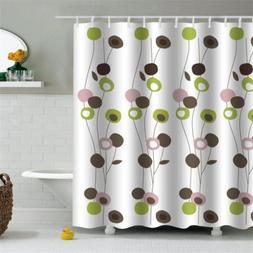 Modern Flower Extra Long Shower Curtain with 12 Hooks Bath C