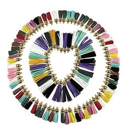 100PCS Multi-Colors Faux Suede Leather Tassel Craft Pendants