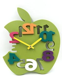 Hippih Mute 3D Apple Shaped Wall Clock with Plastic Material