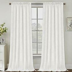 """Natural Linen Curtains 108 Inches Extra Long Rod Pocket 52""""W"""