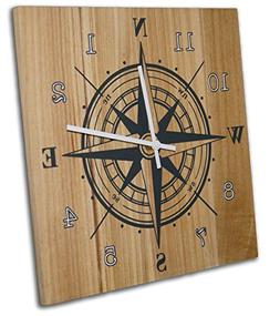 Nautical Compass Wall Clock, 12 Inch, Solid Wood, Non-Tickin