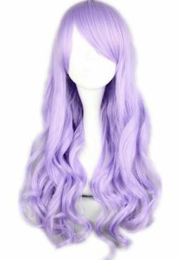 NEW Cosplay Wig Light Purple Long Wavy Curly Anime Show Part
