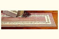 New Country Primitive Burgundy Wine Check BERRY VINE Table R