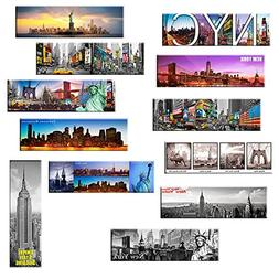 Set of 12 New York Panoramic Photo Magnets NYC 5x1.6 inch -