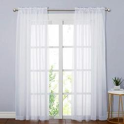 NICETOWN Voile Sheer Curtain Panels 95 inch Extra Long, Rod