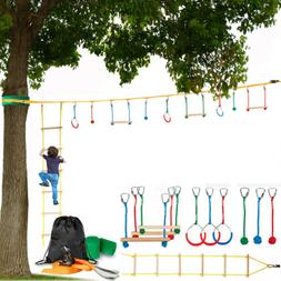 Ninja Obstacle Course for Kids Extra Long Slack Line 59 ft w