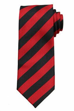 NWT Extra Long Red and Black Collegiate Striped Men's Tie Ne
