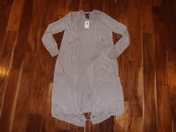 NWT Womens CHELSEA & THEODORE Extra Long Open Cardigan Sweat