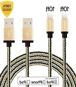 Tecland 2pack 10ft Nylon Braided lightning cords to USB Cabl