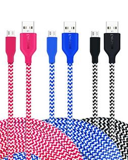 Eversame  6Ft 1.8M Nylon Braided Premium USB2.0 A Male to Mi